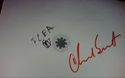 Автографы участников группы Red Hot Chili Peppers