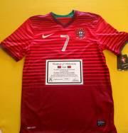 Футболка C. Ronaldo сборной Португалии 2014 с Подпись. сертификат СОА