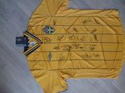 Футболка с автографами футболистов сборной Швеции.